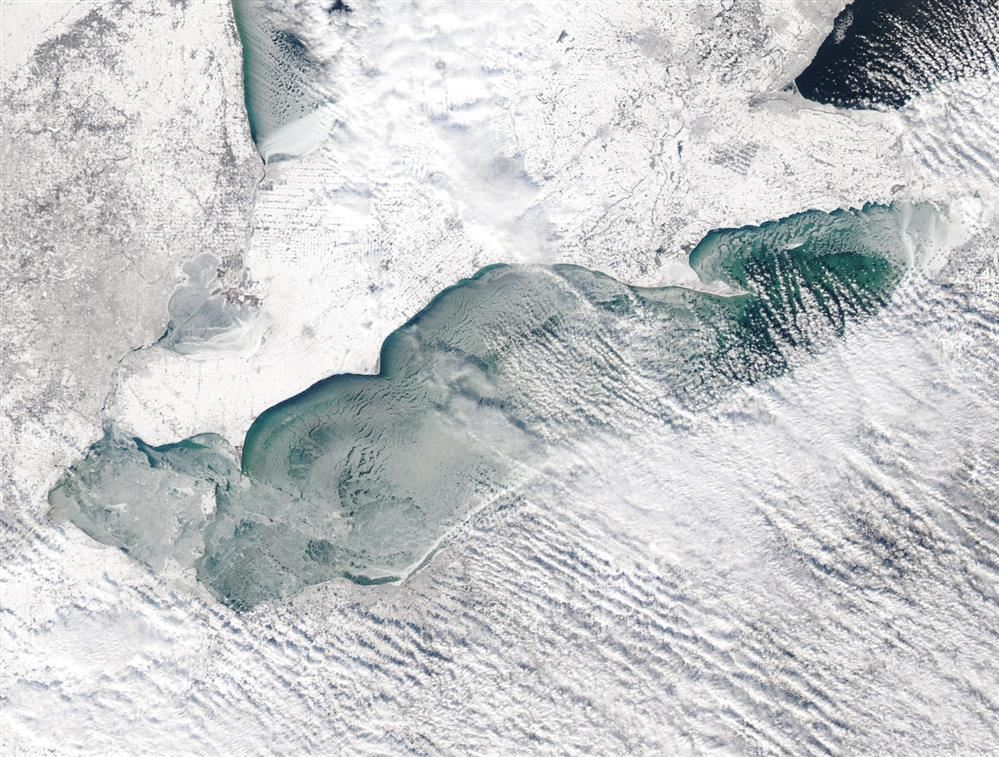 Lake Erie January 8, 2018 from 250 miles above: Image courtesy of NOAA Coastwatch