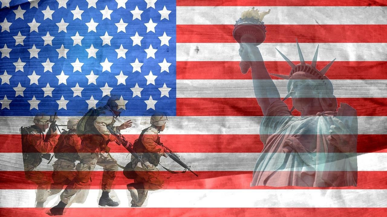 American Flag with Soldiers and Statue of Liberty